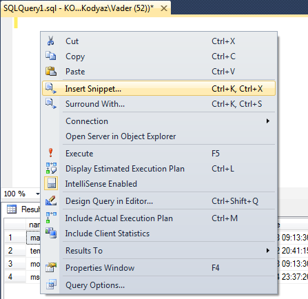 insert code snippet in SQL Server 2012