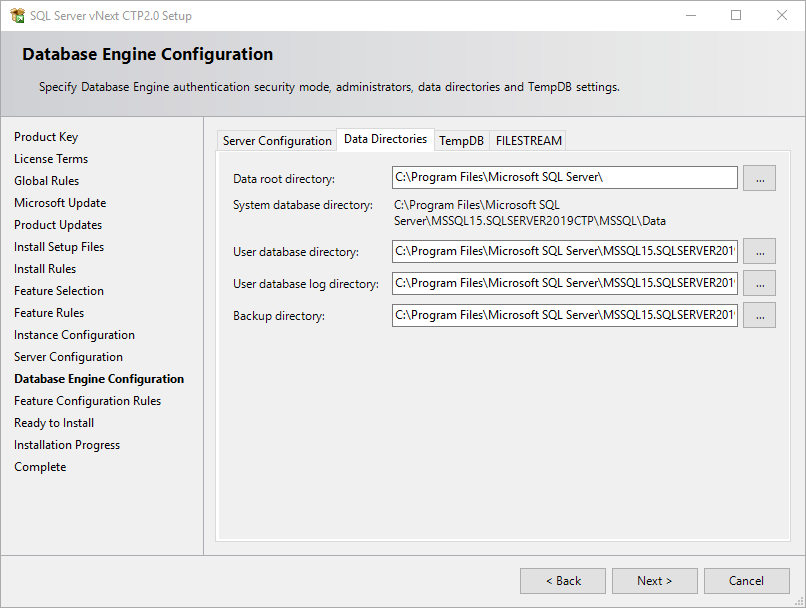 data directories for SQL Server 2019 instance