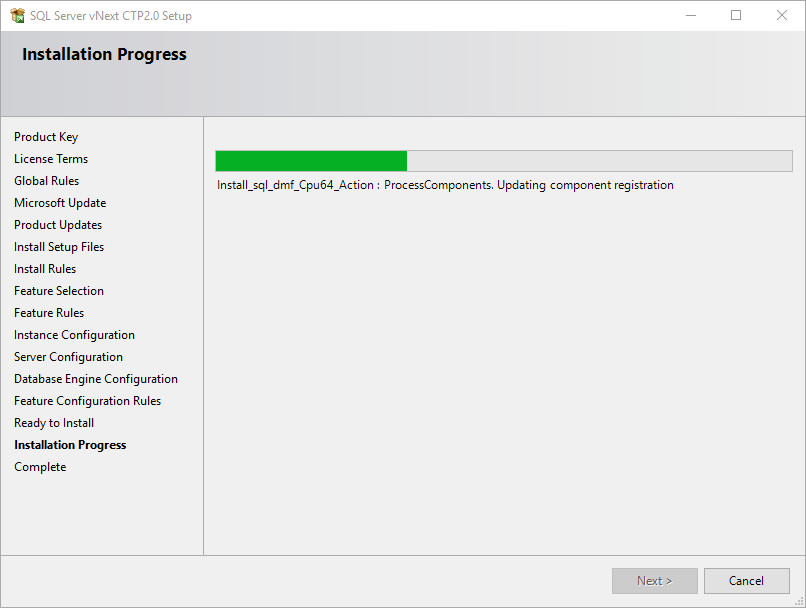 SQL Server setup progress