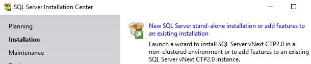 new SQL Server 2019 stand-alone instance installation