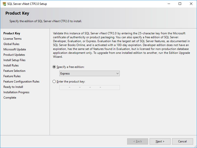 SQL Server 2019 Express Edition setup