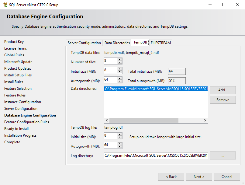 configure TempDB settings for SQL Server 2019 instance