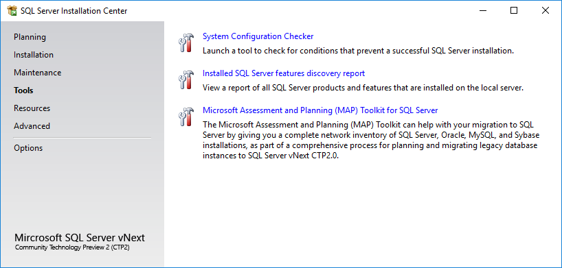 SQL Server 2019 Installation Center Tools