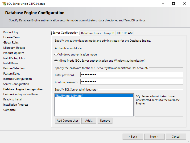 SQL Server Authentication Mode configuration
