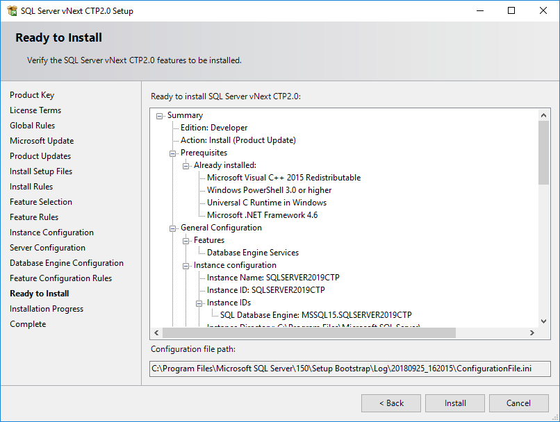 verify SQL Server 2019 features selected for installation