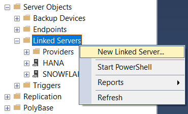 create new Linked Server for Exasol database on SQL Server