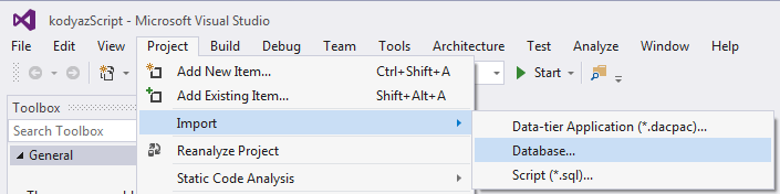 Import Database within SQL Server Database Project in Visual Studio 2015