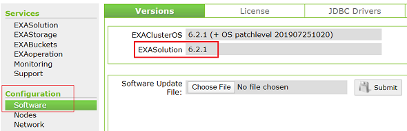 check Exasol database version on EXASolution GUI