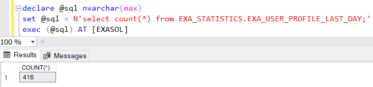 SQL query on Exasol database using SQL Server Linked Server