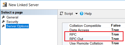 SQL Server Linked Server RPC configuration