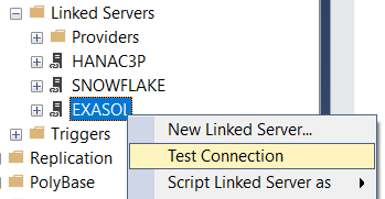 test Exasol Linked Server connection
