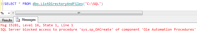 enable Ole Automation procedures in SQL Server