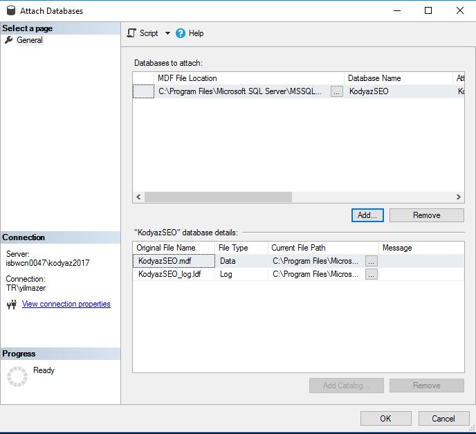 SQL Server databases to attach and database details