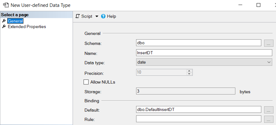 create new SQL data type using SQL Server Management Studio