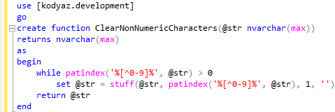 remove non-numeric characters from string using SQL function