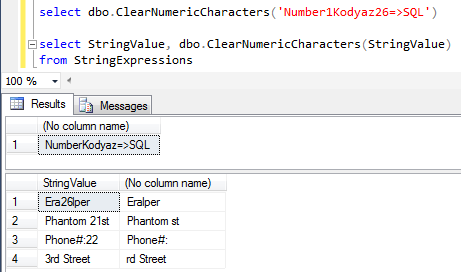 remove numeric characters in a string expression using SQL function