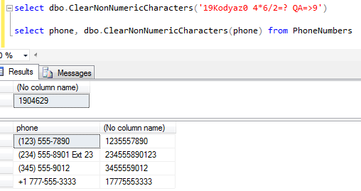 clearing non-numeric values in a string expression in SQL Server