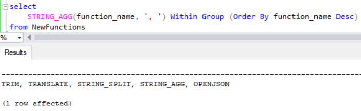 SQL Server 2017 string concatenation function String_Agg