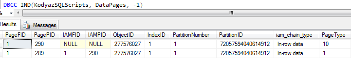 SQL Server database table data page list using DBCC IND