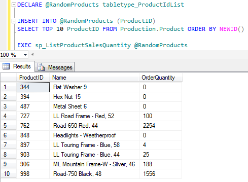 table-valued parameter to pass multiple values to SQL stored procedure