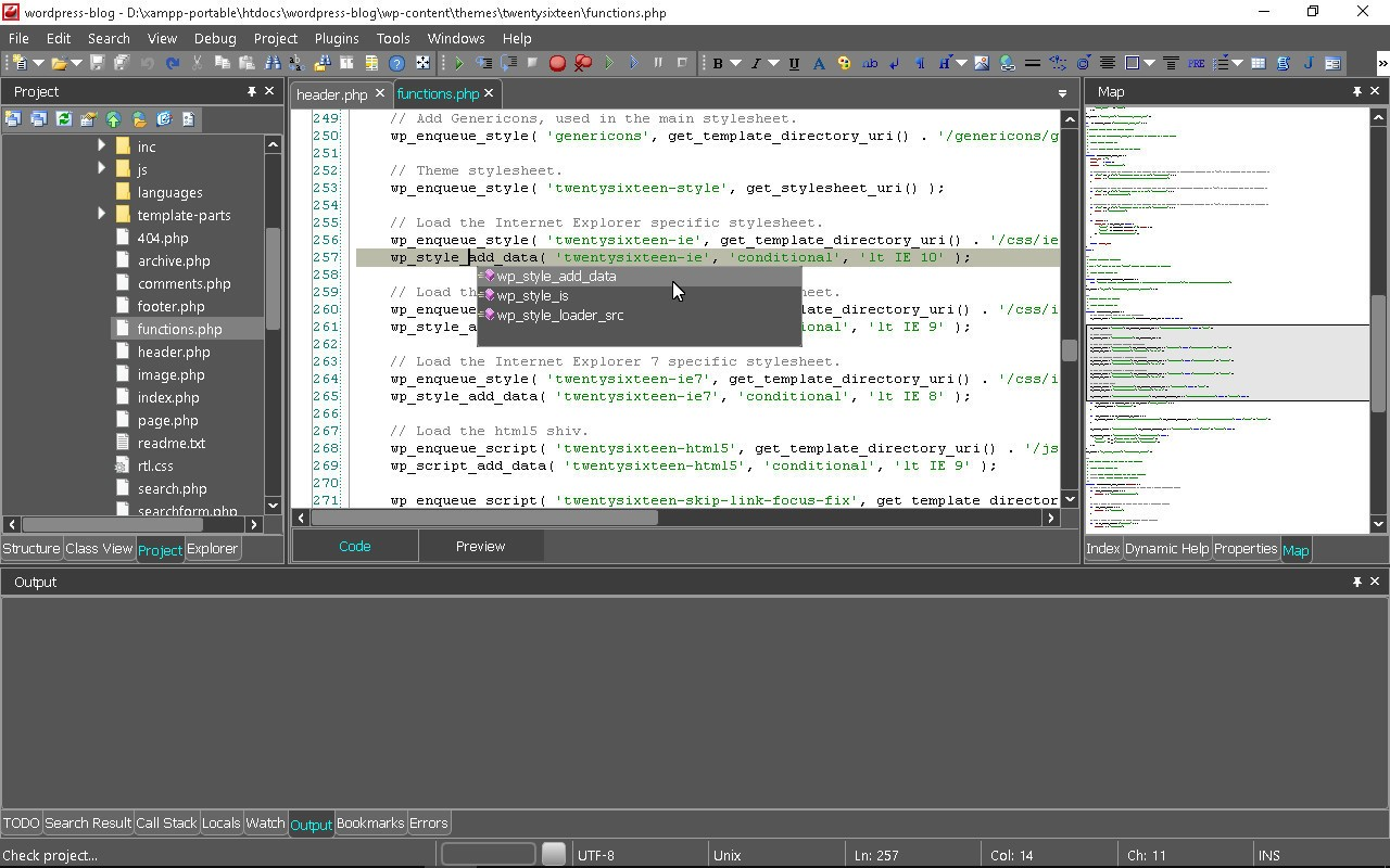 WordPress development in CodeLobster IDE