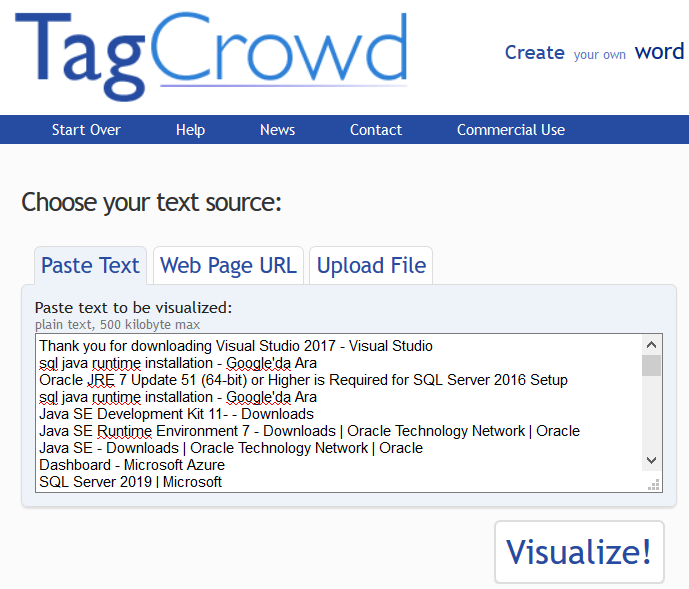 create tag cloud using text input on TagCrowd