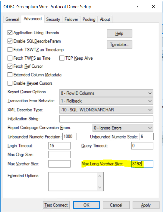 advanced settings for Greenplum ODBC driver