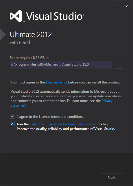 install Visual Studio 2012 with Blend