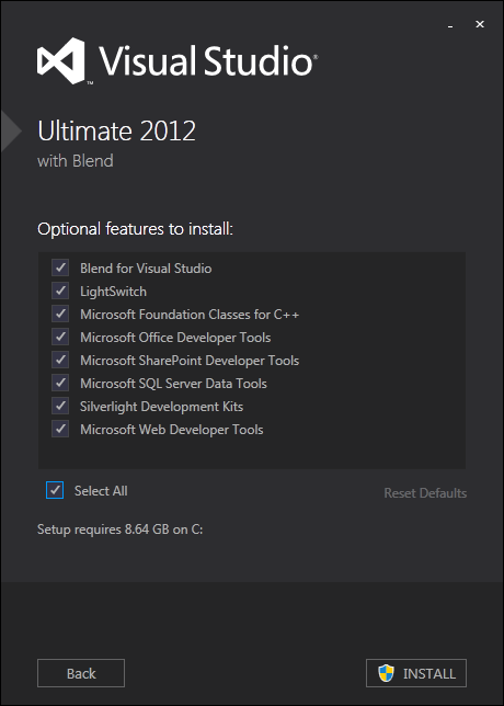 optional features to install with Visual Studio 2012 Ultimate