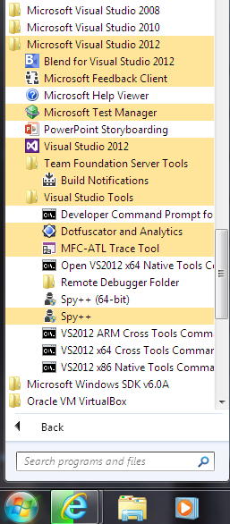 Microsoft Visual Studio 2012 program menu