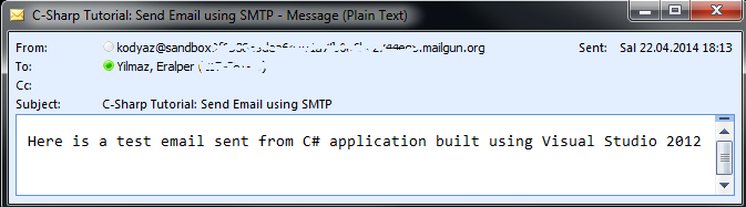 send email using SMTP in Visual Studio C-Sharp code