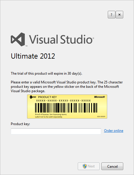 enter Visual Studio 2012 product key for Ultimate edition