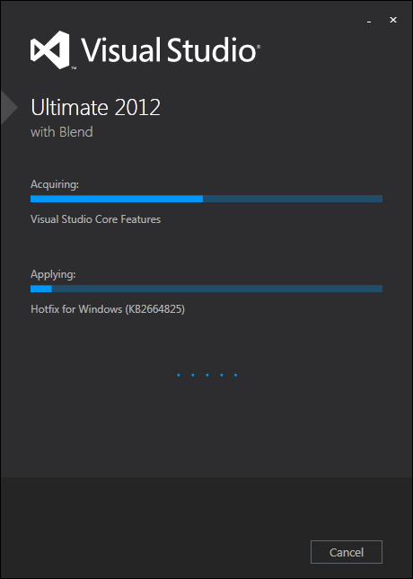 Visual Studio 2012 Ultimate installation begins