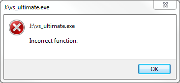 vs_ultimate.exe Incorrect function. Visual Studio 2012 setup error