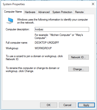 change Windows 10 computer description