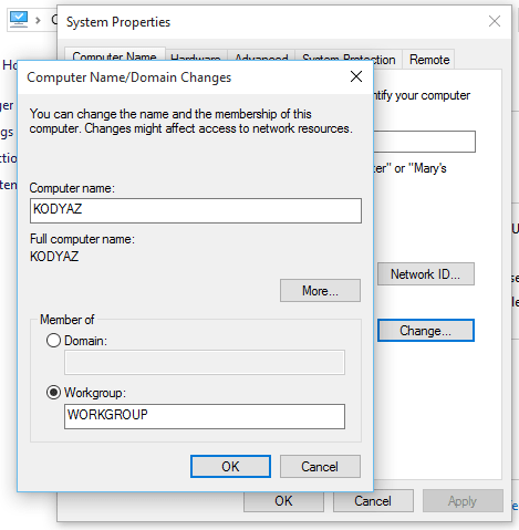 change computer name on Windows 10
