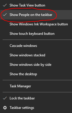 Configure Windows 10 Taksbar to unpin People app icon