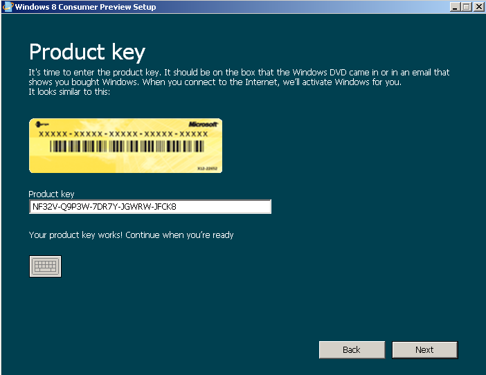 Windows 8 product key for Windows Consumer Preview setup