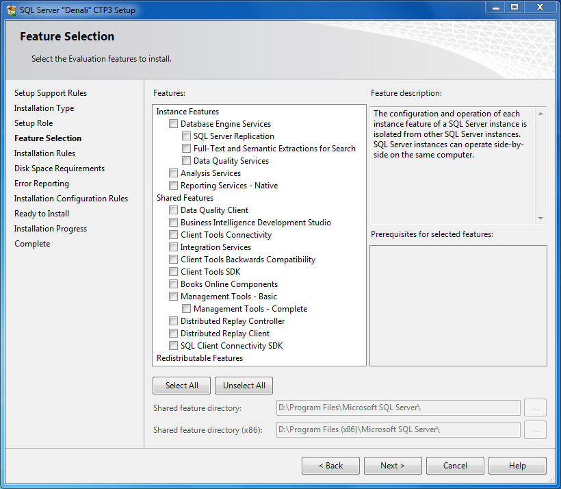Features to install in SQL Server 2012 Setup