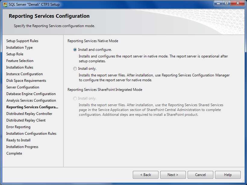 SQL Server 2012 Reporting Services configuration mode