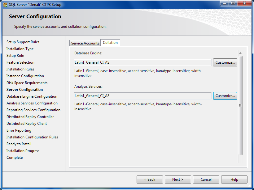 SQLServer Collation configuration