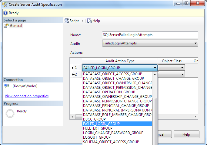 create SQL- Srver Audit Specification for failed_login_group