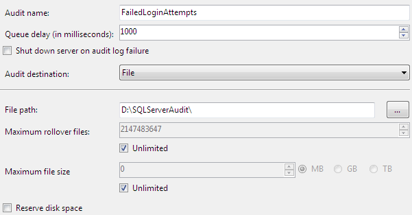 Audit configuration for new Failed Login Attempts